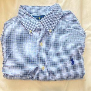 Polo Ralph Lauren Blue Pattern Cotton Button Down